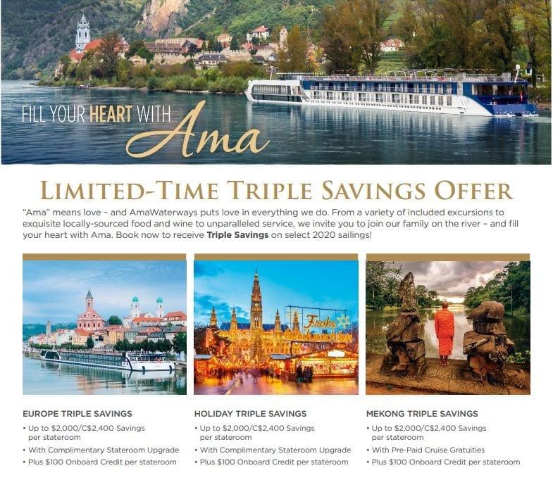 Amawaterways Triple Savings Offer