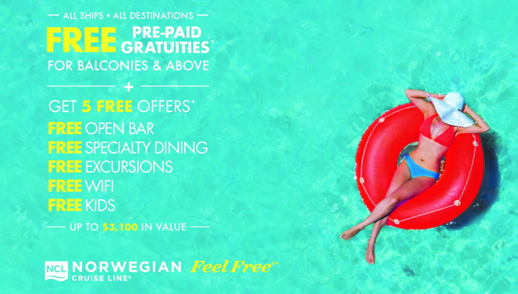 Free Gratuities When You Book a Balcony or Above on Norwegian Cruise Line